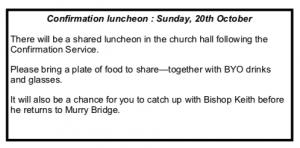 Confirmation Luncheon (following the Confirmation Service) @ Christ Church Mount Gambier