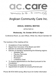 ac.care AGM @ Conference Room, ac.care Offices, White Ave, Mount Gambier SA