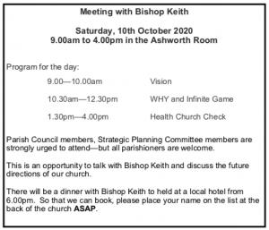Meeting with Bishop Keith @ Christ Church Ashworth Room