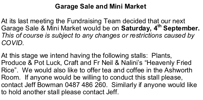 Garage Sale and Mini Market @ Christ Church